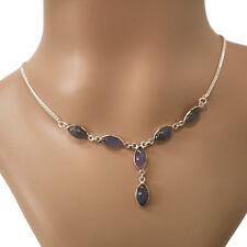 Labradorit Halskette Silber 925 Collier 40cm Kette Cabochon Edelsteine blau grün