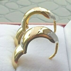 9ct Yellow, White & Rose Solid Gold Huggie Earrings Prof Cleansed Stunning Mint.