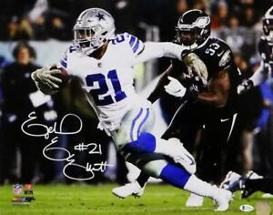 Ezekiel Elliott Signed Cowboys 16x20 PF Running vs Eagles Photo - Beckett Auth