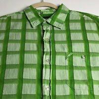Ecko Unltd. Men's Short Sleeve Button Up Shirt XL Green White Plaid One Pocket