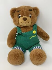 "Eden 1996 Corduroy Bear Plush Stuffed Animal Toy W/ Striped Overalls 16"" - READ"