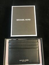 BNIB MICHAEL KORS Warren Black Leather Tall Card Case Gift Idea