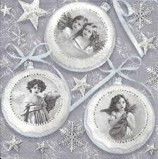 Lot de 4 Serviettes en papier Boules Noël Anges Vintage Decoupage Decopatch