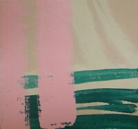 JOSE TRUJILLO Acrylic Painting 8x8 Pink Green ABSTRACT NEW Original Art Color