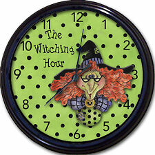 The Witching Hour Wall Clock Witch Halloween Spirits Demons Ghosts Midnight