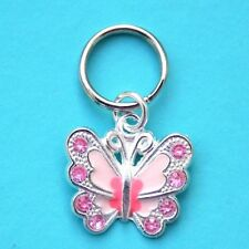 Pink Butterfly Charm for Cat or Dog Pet Collar New Tag LB333