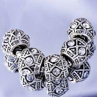 White Crystal european Beads 5pcs Charm Tibetan silver Fit DIY Bracelet