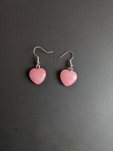 "Pink Agate Healing Crystal Heart Stone 1/2"" Pendant Gem Earrings"