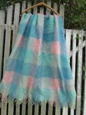 Vintage Kinloch Anderson wool mohair plaid pastel baby pink blue blanket throw