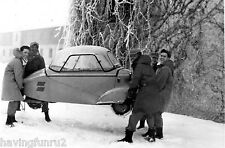 Messerschmitt KR175 being picked up by 5 US Soldiers 8 x 10 photograph
