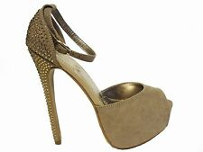 Beige Suede Rhinestone Platform Peep Toe Ankle Strap Heels Sandals Shoes 7