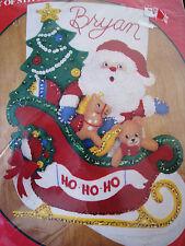Christmas Bucilla STOCKING FELT Applique Craft Holiday KIT,SANTA'S SLEIGH,33186