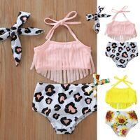 Kids Baby Girls Tassel Sunflower Print Summer Swimwear Swimsuit Bikini Outfits