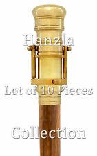 10 Pieces Lot Nautical Brass Telescope Handle Walking Stick Vintage Wooden Cane
