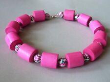 Große Holzperlen Kette Holz Walze Fimo Blume Perle pink rosa 49 cm 7098