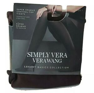 Simply Vera Wang Size 1 Brown Opaque Control Top Luxury Basic Tights Hose