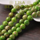 50pcs 6mm Round Natural Stone Loose Gemstone Beads Apple Green Imperial Jasper