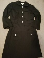 ANN TAYLOR LOFT Size 8 Women's Skirt Suit Black silver buttons career lined