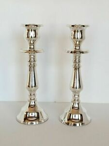 POTTERY BARN ECLECTIC SILVER-PLATED CANDLESTICK SMALL SET OF 2 NEW
