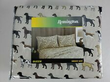 Remington Queen Sheet Set 3 Pc Dogs Hunting Lodge Cabin Rustic New