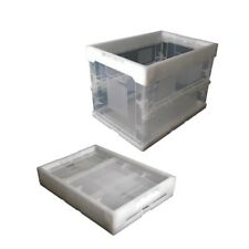 Folding Plastic Crate Clear Collapsible Storage Box Reusable Utility Container
