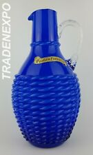 Vintage 1960s-70s OPALTINA FIORENTINA Glass Basketweave Jug Vase from Italy