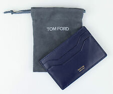 NWT TOM FORD Yale Blue Smooth 100% Leather ID Card Holder Wallet $250