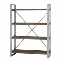 Luxe Metal  Wood Industrial Etagere | Minimalist Silver Plank Shelves Rustic
