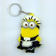 Despicable Me Phil Maid and Baby Minion Rubber Key Chain Ring Holder Keychain