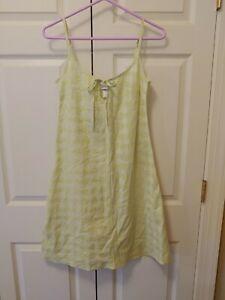 New Women Yellow Crabtree & Evelyn Keyhole Chemise Damask Dot Dress Size S
