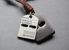 NEW Leather Men's Dog Tag Brush Metal Pendant Surfer Necklace Choker Adjustable