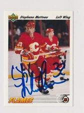91/92 Upper Deck Stephane Matteau Calgary Flames Autographed Hockey Card