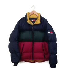 Tommy Hilfiger Jacket M Puffer Big Flag Patch VTG Spell Out Coat RARE Colorblock