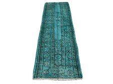 Distressed Overdyed Türkischer Teppich Läufer 195 x 64 cm Vintage Wool Medium