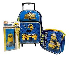 DESPICABLE ME 2 MINION CLUB OF MAYHEM ROLLING BACKPACK,LUNCHBOX,&STATIONARY