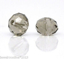 200 Grau Glasperlen Schliffperlen Facettiert Beads BICONE Rhombe 4mm