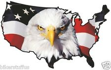 USA EAGLE HEAD STICKER UNITED STATES MAP FLAG BUMPER STICKER # 2 LAPTOP STICKER