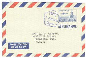 Korea Aerogramme, Seoul to Sarasota, Florida, USA, June 1, 1956