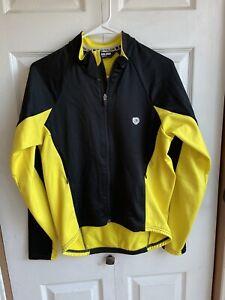 Men's Pearl Izumi Cycling Jacket Yellow Black Color Block Full Zip L/S Sz Medium