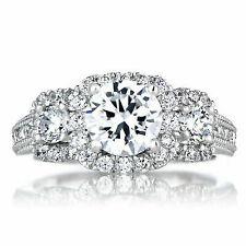 14k White Gold Diamond Engagement Ring With Wedding Band Set 1.30 Ct