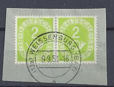 BRD Mi.-Nr.123 Paar auf Briefstück Vollstempel WEISSENBURG/BAYERN Posthorn 2 TOP