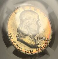 1958-D FRANKLIN SILVER HALF DOLLAR NGC MS66 FBL COLLECTOR COIN, FREE SHIPPING