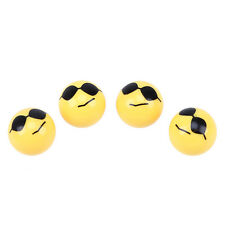 4x Yellow Smile Face Wear Glasses Wheel Tyre Valve Stems Air Caps Ball Shape