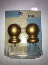Graber Wood Curtain Rod Finials Set of 2 GOLD 23-5402-72