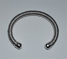 925 Sterling Silver Twisted Cable Cuff Bangle Bracelet Mint 38.40 grams