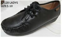 Slip Resistant Women Comfy Walking Work Shoes Non-slip PU Leather Lace Up 120