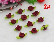 60PCS Beige Satin Ribbon Rose Rosebud Flowers Leaves Appliques Dress Crafts
