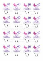 40th Birthday Female Wafer CARD Standing Edible Cupcake Fairy Cake Topper x 16