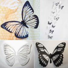 18pcs 3D Black /White Butterfly Crystal Decor Wall Stickers Decoration Decals Z#