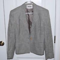 Neiman Marcus Blazer Size Small Womens Tweed Gray Dress Jacket Vintage VTG Plaid